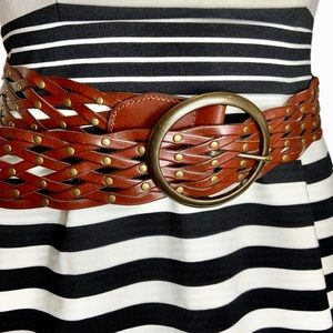 Fossil LEATHER braided gold studded belt SZ SM/MED